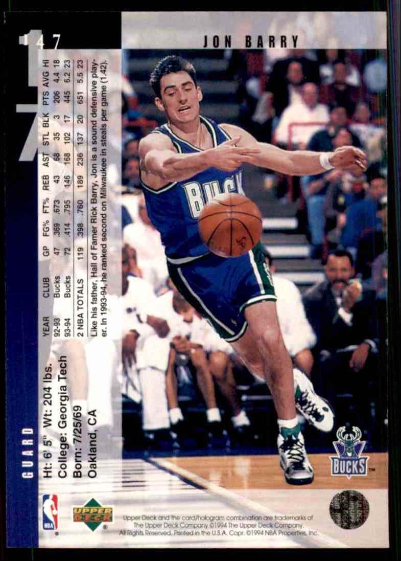 1994-95 Upper Deck Jon Barry #147 card back image