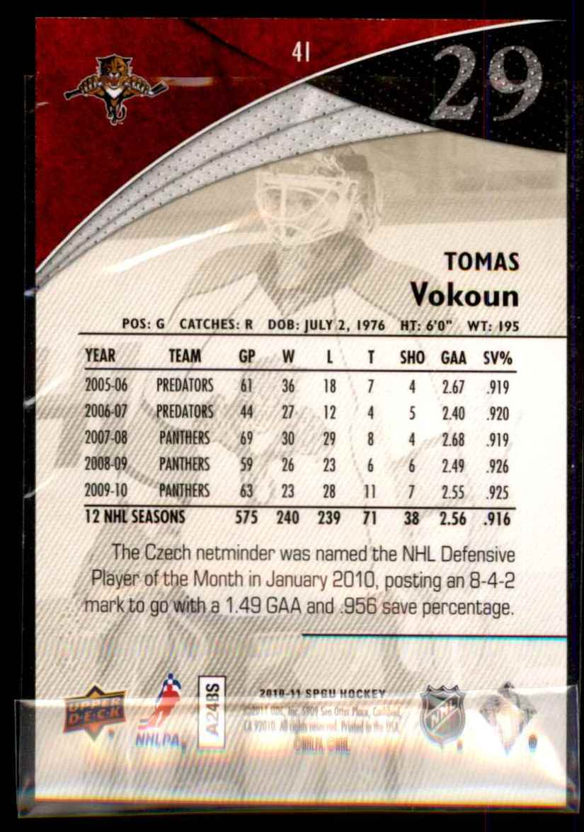 2010-11 SP Game Used Gold Tomas Vokoun #41 card back image