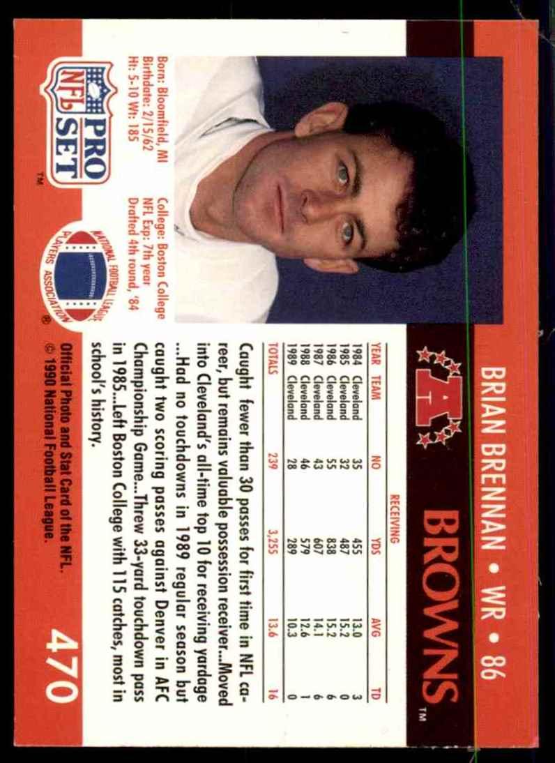 1990 Pro Set Brian Brennan #470 card back image