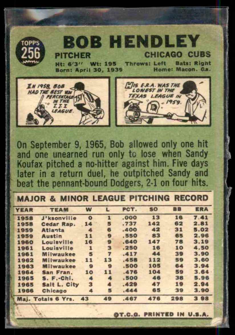 1967 Topps Bob Hendley #256 card back image