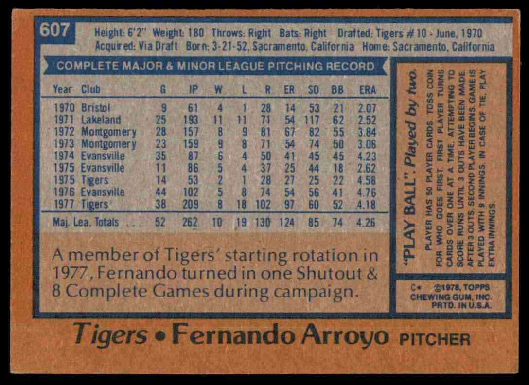1978 Topps Fernando Arroyo #607 card back image