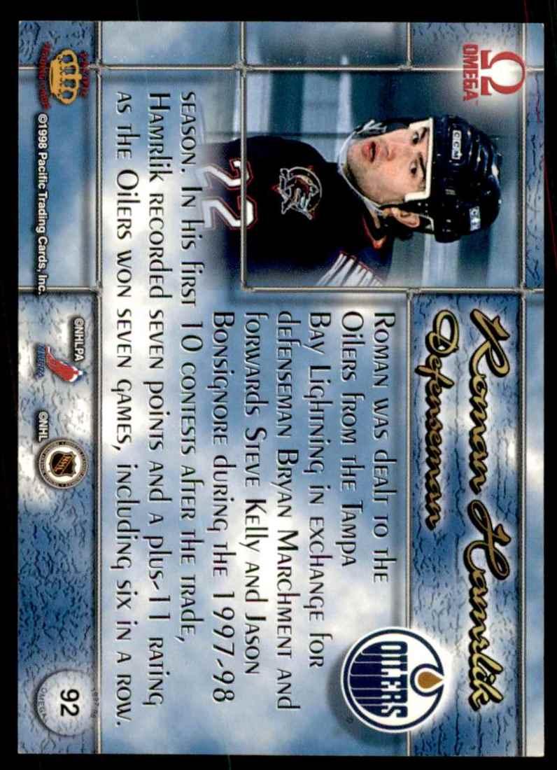 1997-98 Pacific Omega Roman Hamrlik #92 card back image