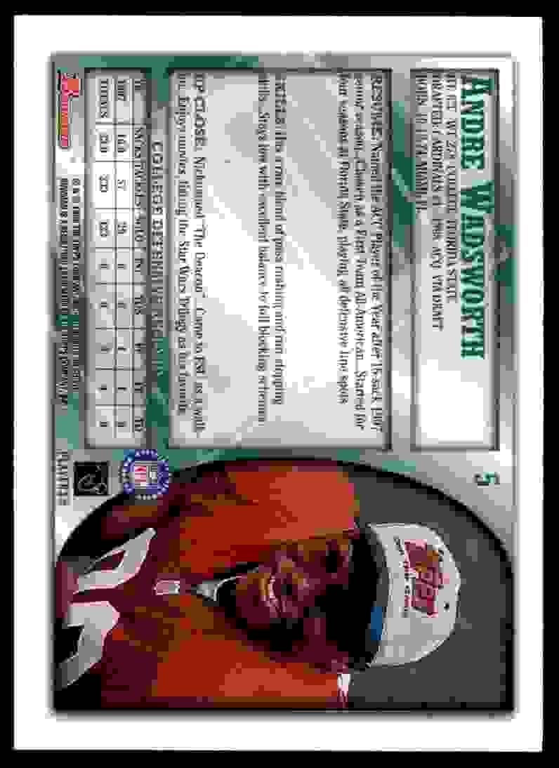 1998 Bowman Andre Wadsworth #5 card back image