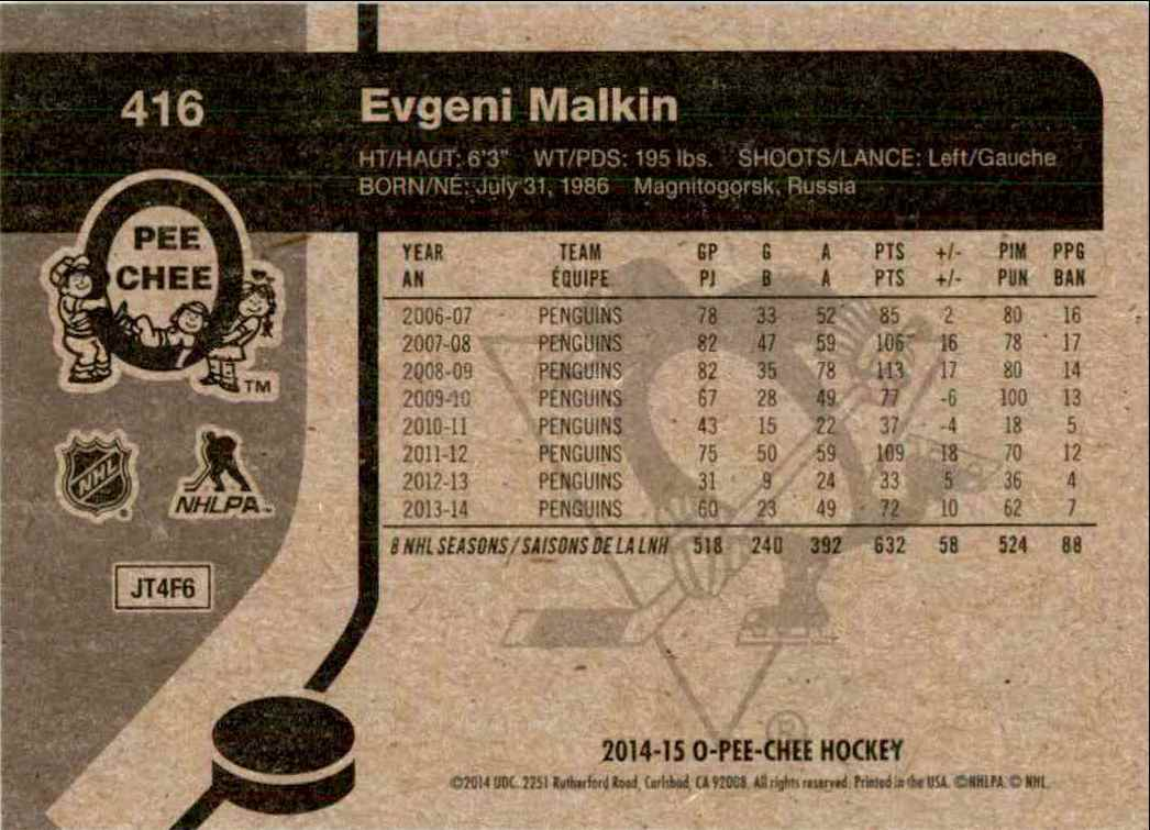 2014-15 O-Pee-Chee Retro Evgeni Malkin #416 card back image