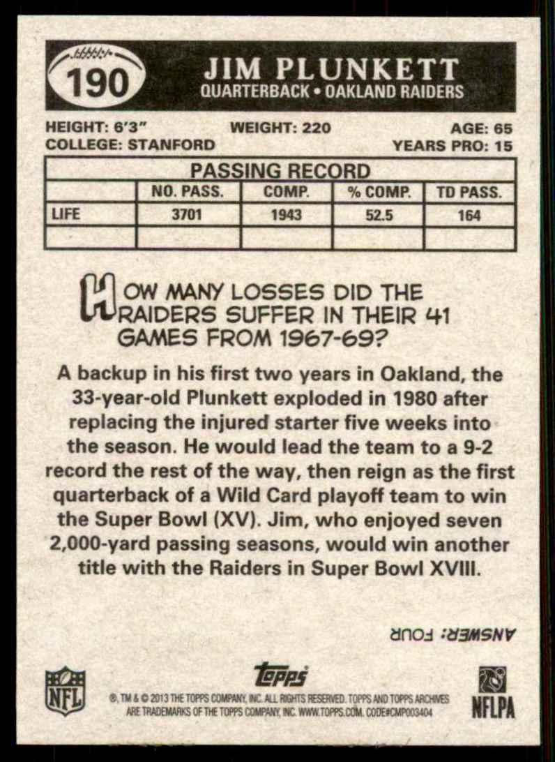 2013 Topps Archives Jim Plunkett #190 card back image