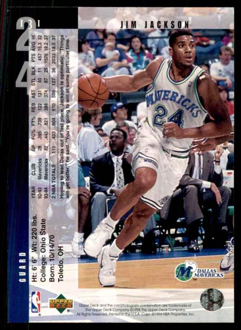 1994-95 Upper Deck Jim Jackson #131 card back image