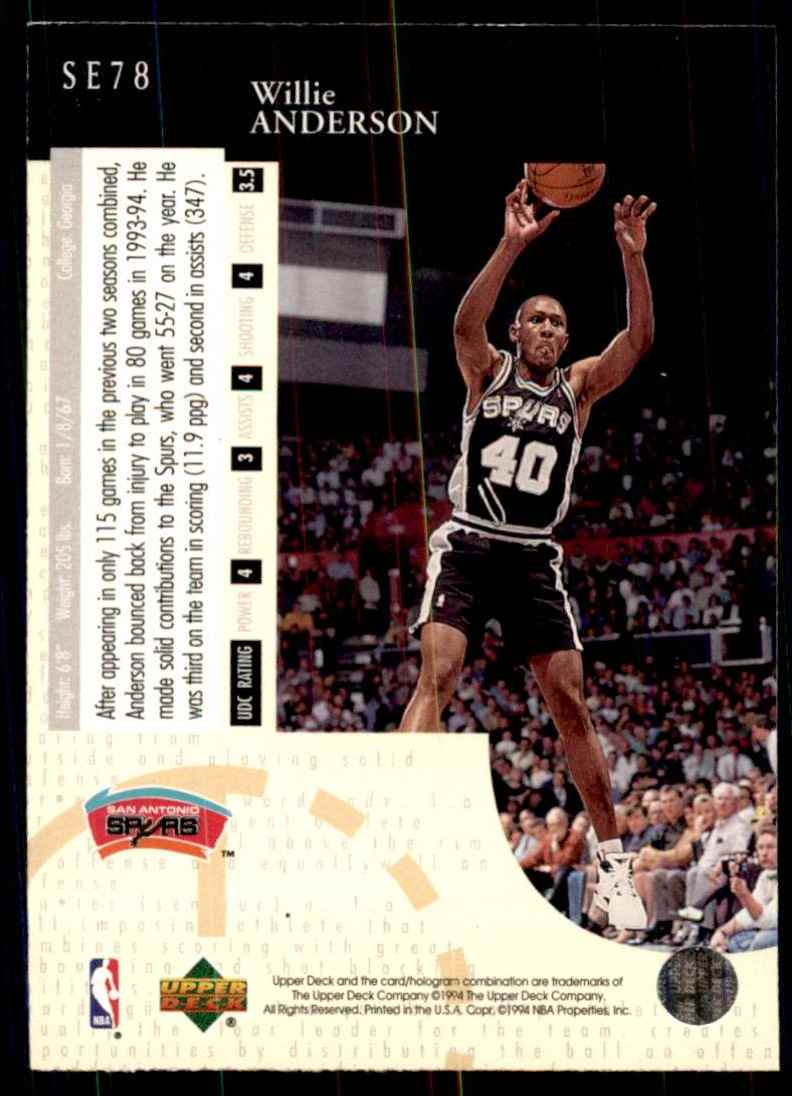 1994-95 Upper Deck Special Edition Willie Anderson #78 card back image