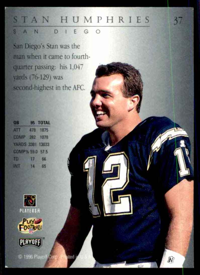 1996 Playoff Trophy Contenders Stan Humphries #37 card back image
