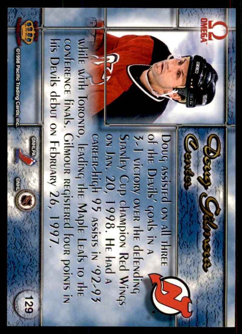1997-98 Pacific Omega Gold Doug Gilmour #129 card back image