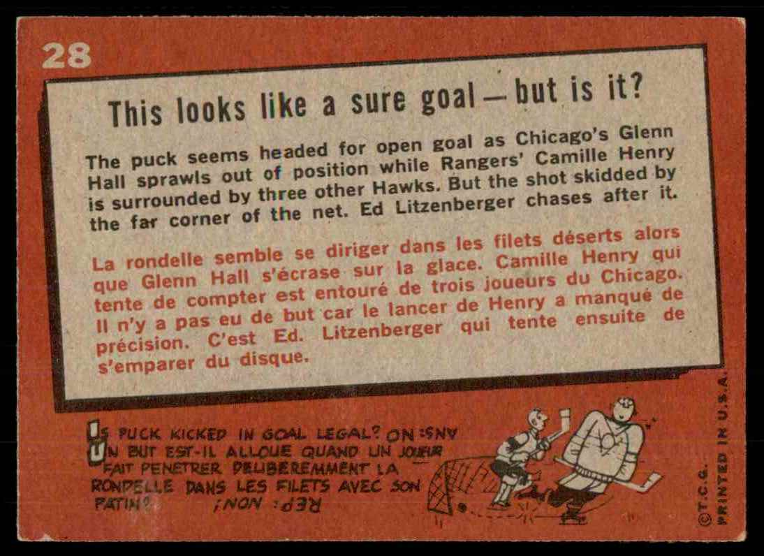 1959-60 Topps This Looks Like A Sure Goal (B) #28 card back image