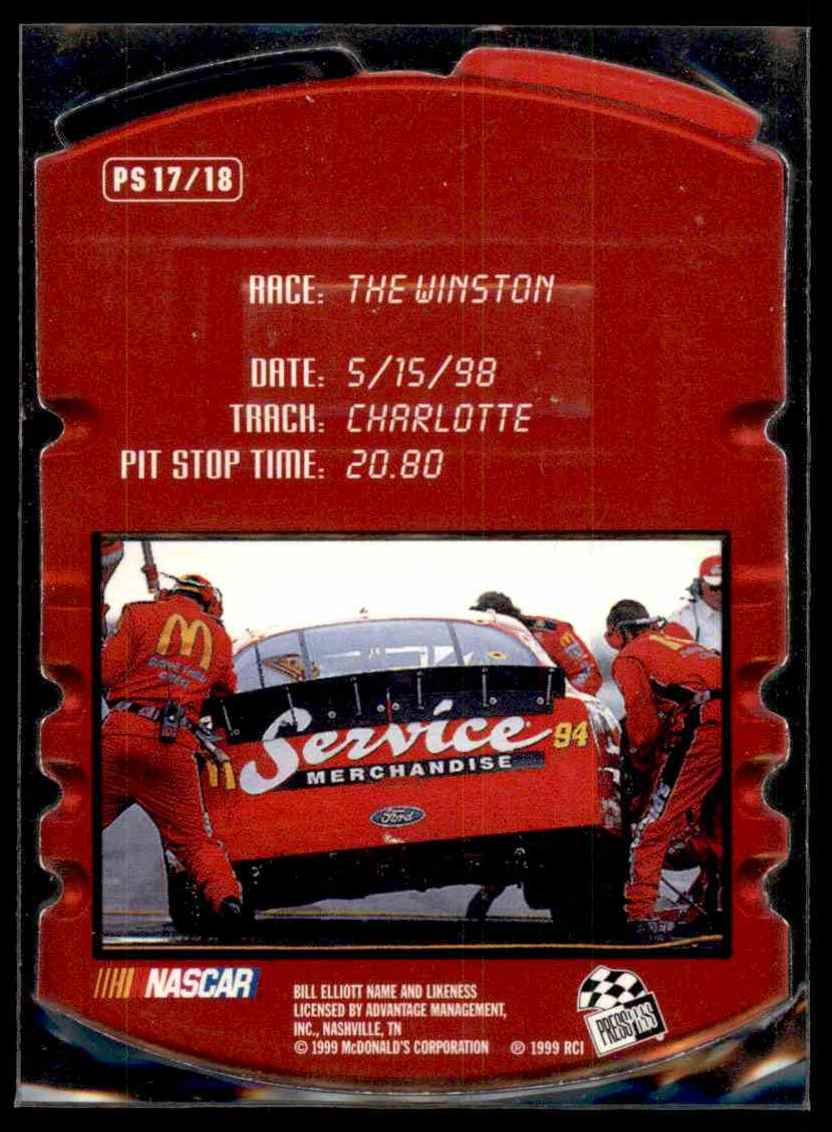 1999 Press Press Pit Stop Bill Elliot #17 card back image