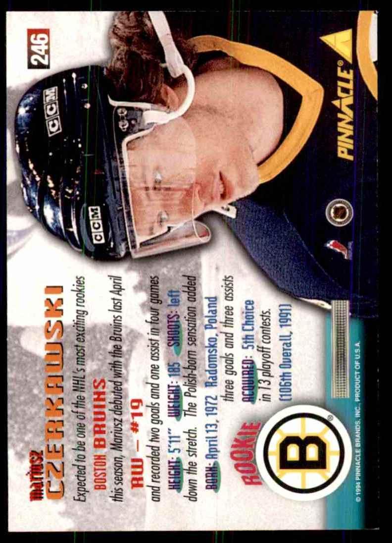 1994-95 Pinnacle Mariusz Czerkawski RC #246 card back image