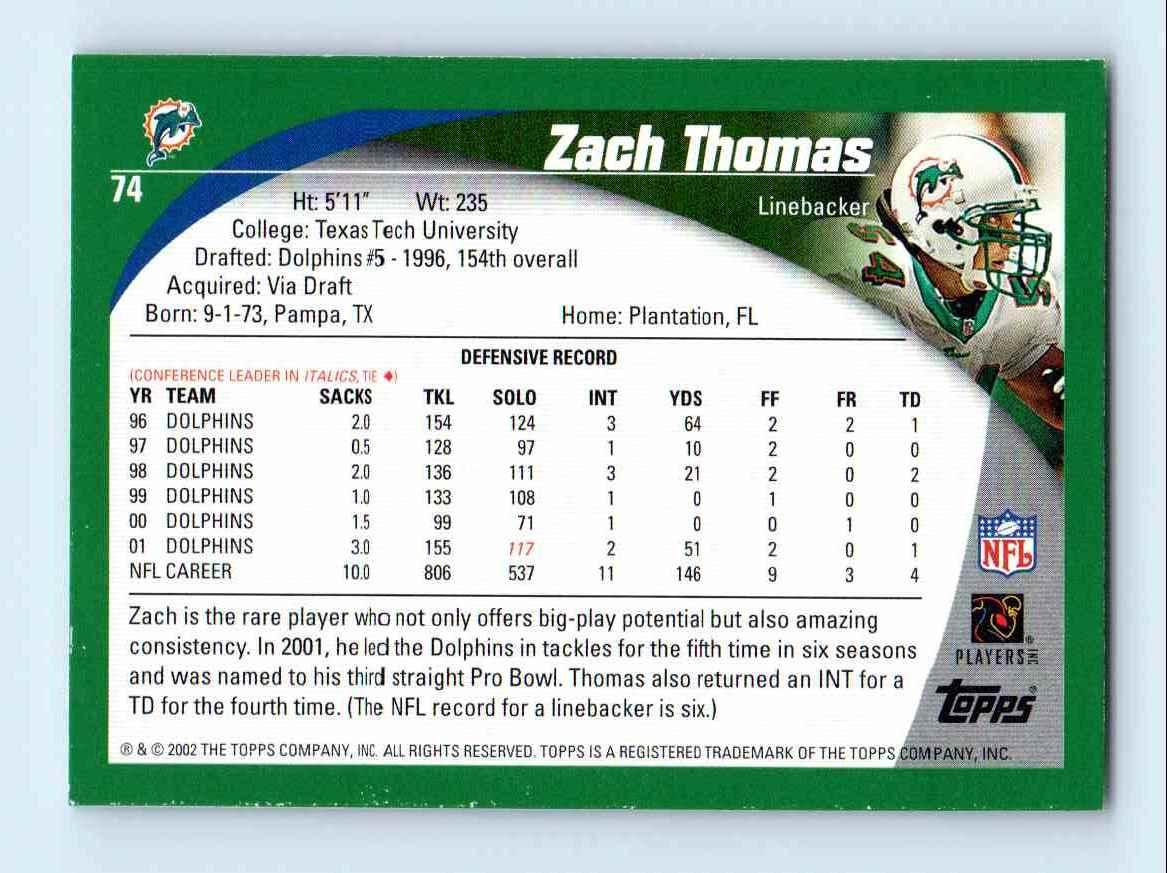 2002 Topps Zach Thomas #74 card back image