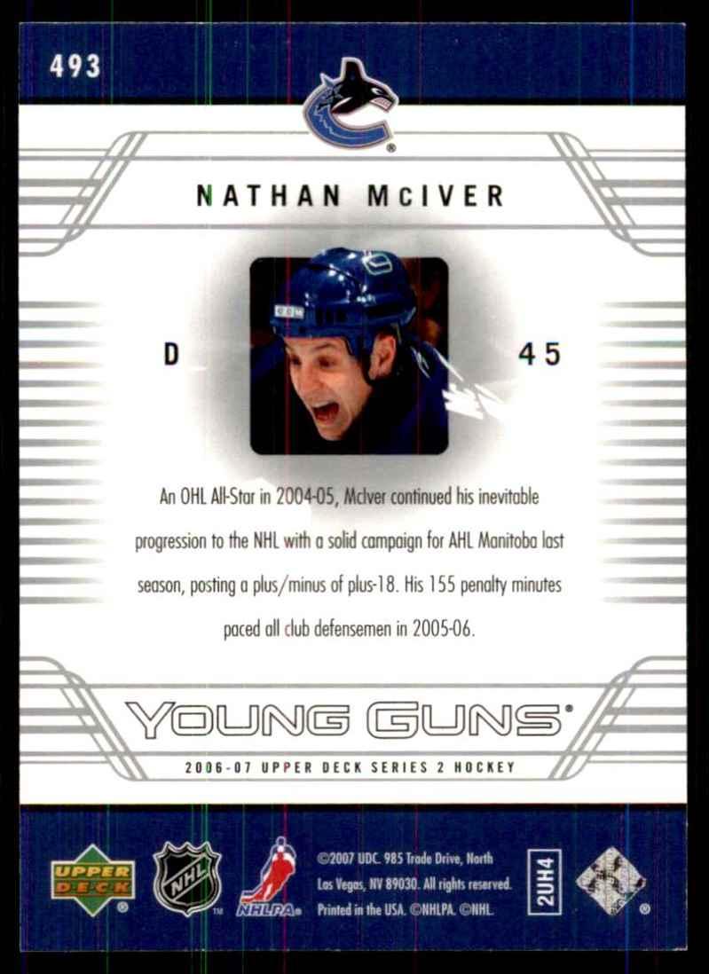 2006-07 Upper Deck Nathan McIver Yg RC #493 card back image