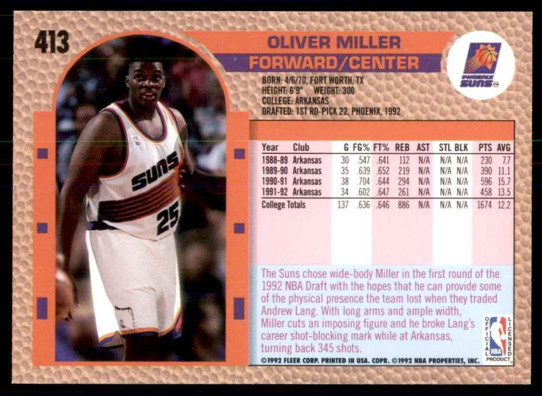 1992-93 Fleer Oliver Miller RC #413 card back image