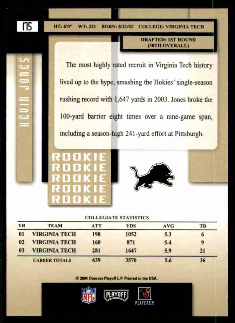 2004 Playoff Prestige Kevin Jones RC #175 card back image