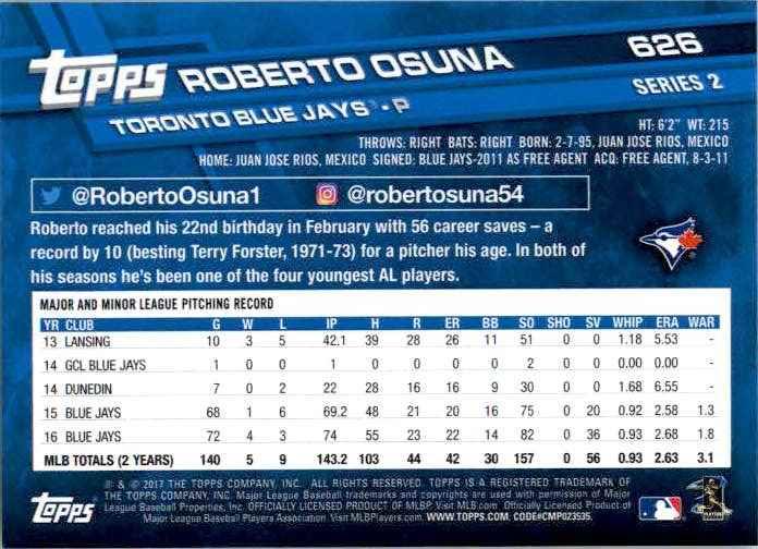 2017 Topps Series 2 Roberto Osuna #626 card back image