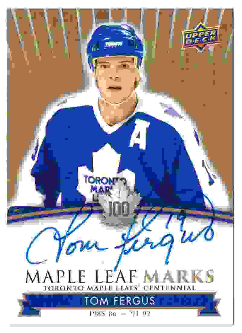 2017-18 Upper Deck Marks Centannial Autographs Tom Fergus #MLM-TF card front image
