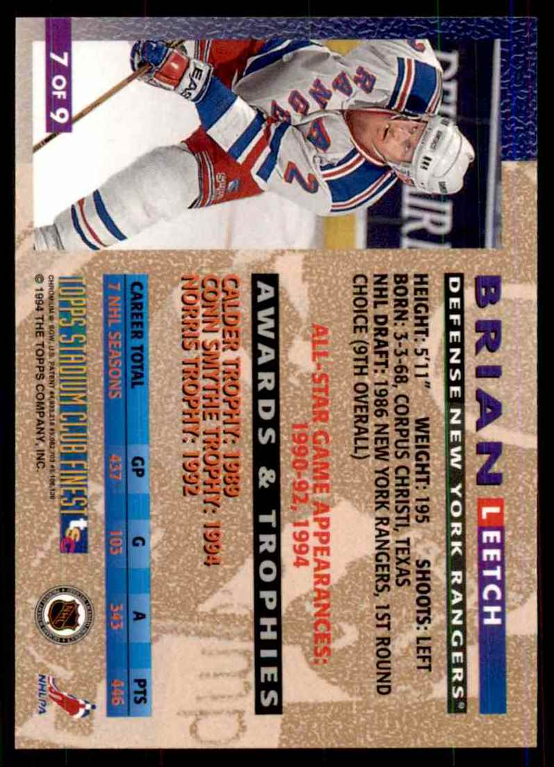 1994-95 Stadium Club Finest Inserts Brian Leetch #7 card back image