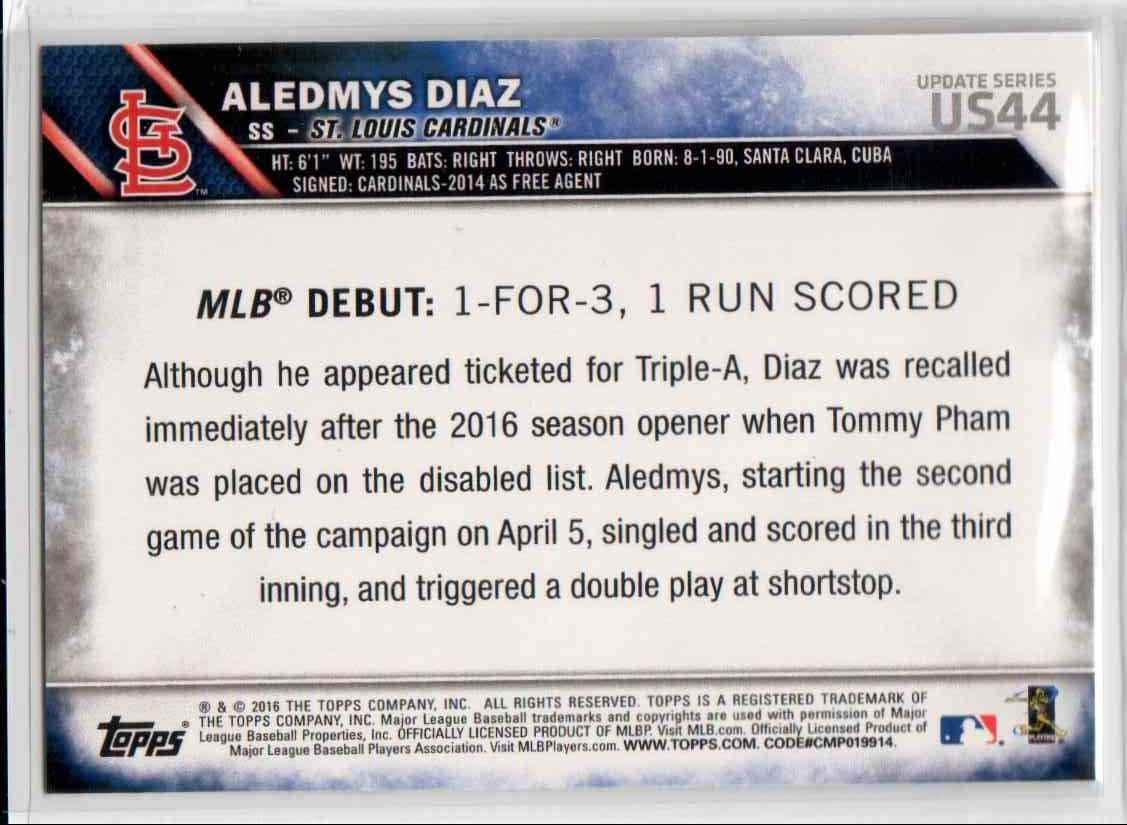 2016 Topps Update Aledmys Diaz RD #US44 card back image