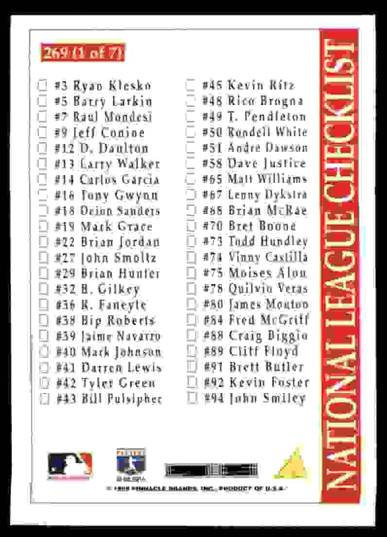 1996 Score Jeff Bagwell #269 card back image