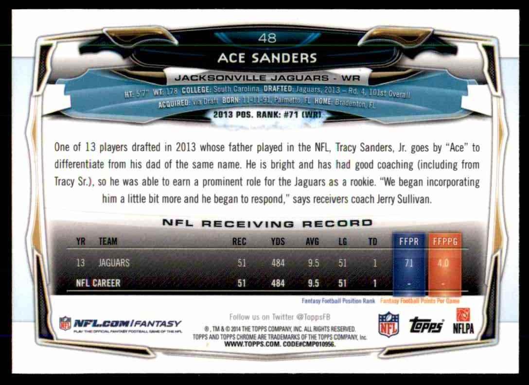 2014 Topps Chrome Refractors Ace Sanders #48 card back image