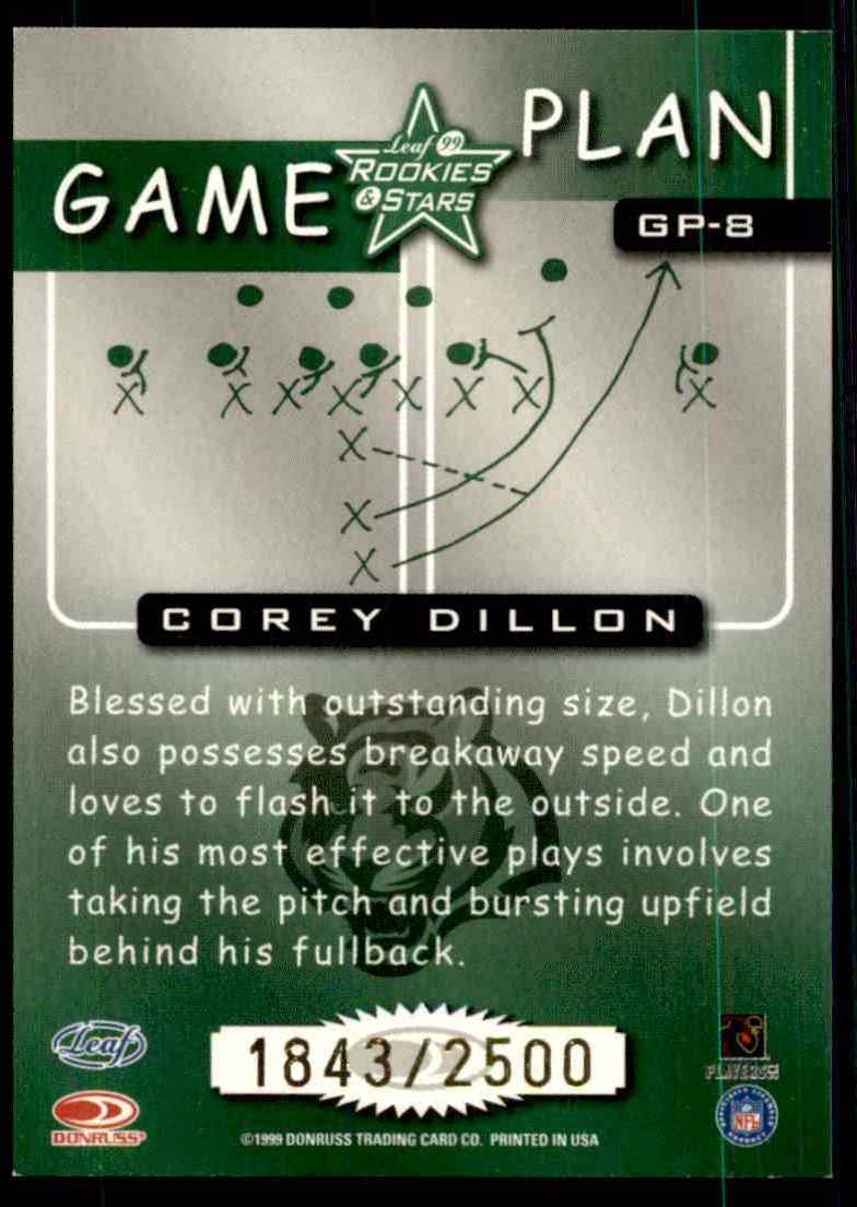 1999 Leaf Rookies & Stars Game Plan Corey Dillon #GP8 card back image