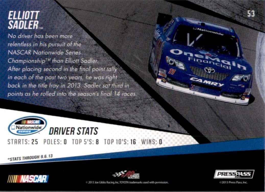 2014 Press Pass Elliott Sadler Nns #53 card back image