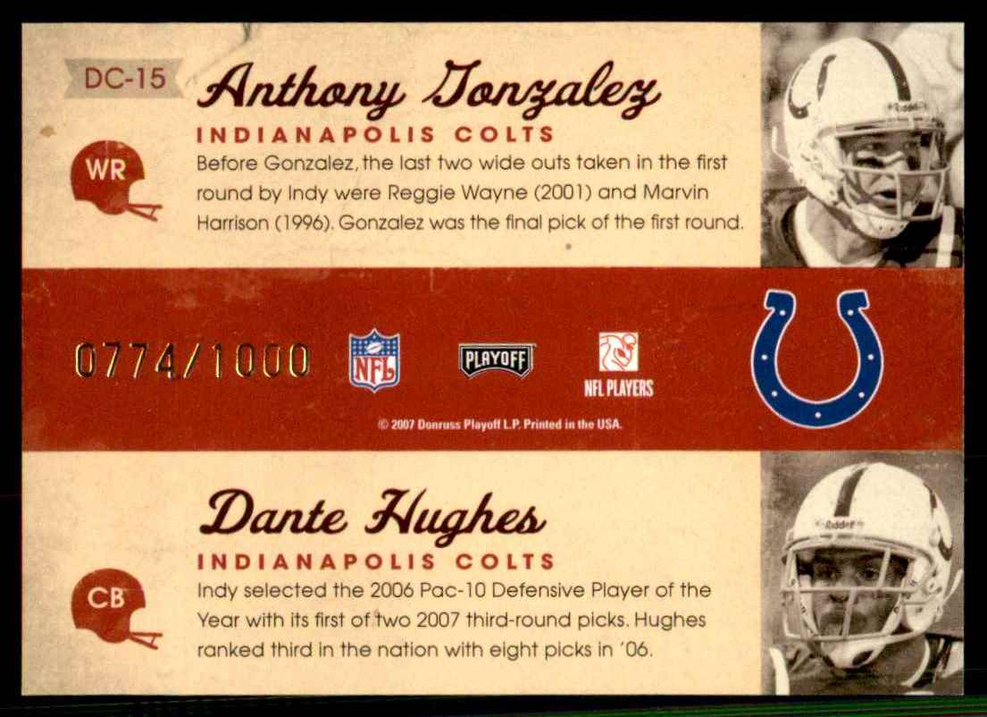2007 Playoff Contenders Draft Class Anthony Gonzalez/Daymeion Hughes #15 card back image