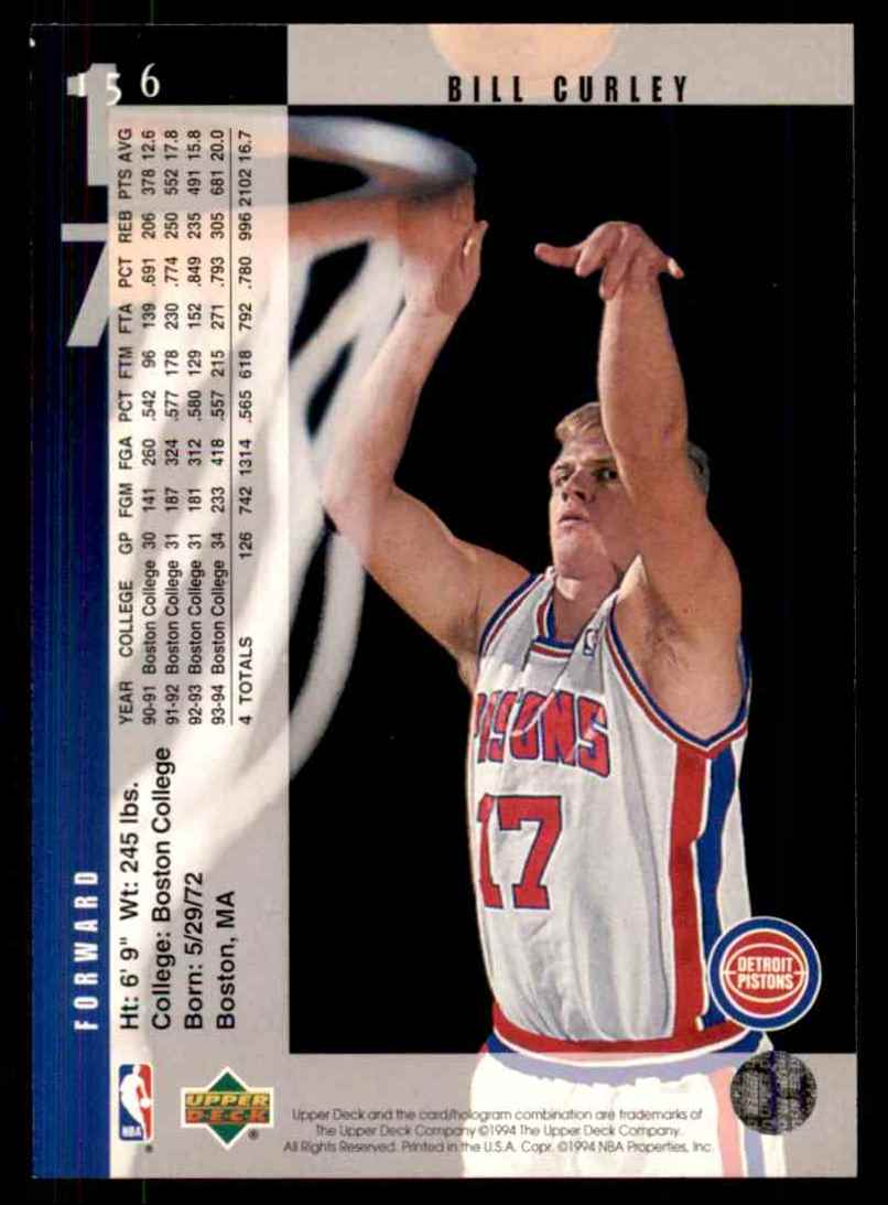 1994-95 Upper Deck Bill Curley RC #156 card back image