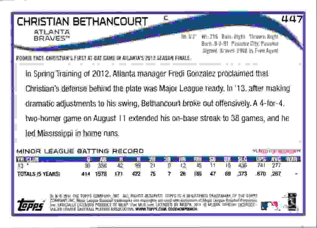 2014 Topps Christian Bethancourt RC #447 card back image