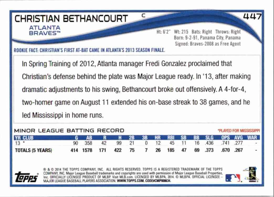 2014 Topps Christian Bethancourt RC #447 card back image