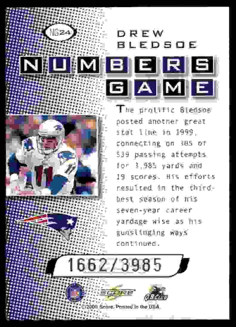 2000 Score Numbers Game Drew Bledsoe #NG24 card back image