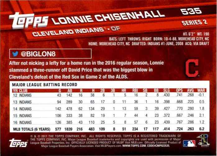 2017 Topps Series 2 Lonnie Chisenhall #535 card back image