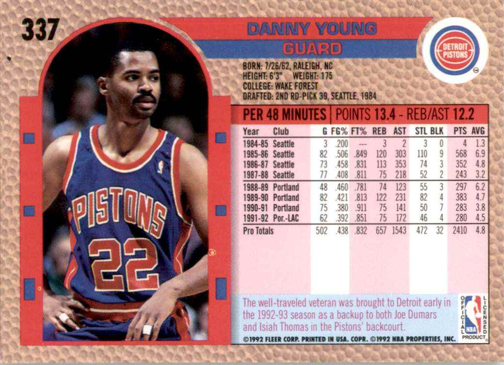 1992-93 Fleer Danny Young #337 card back image