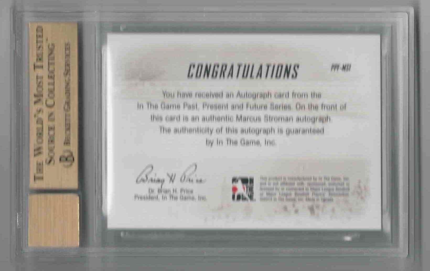 2014 ITG Past Present Future Autographs Marcus Stroman #PPF-MS1 card back image