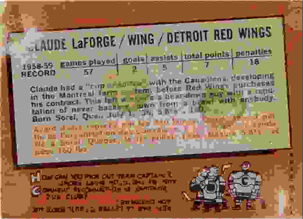 1959-60 Topps Claude LaForge #64 card back image