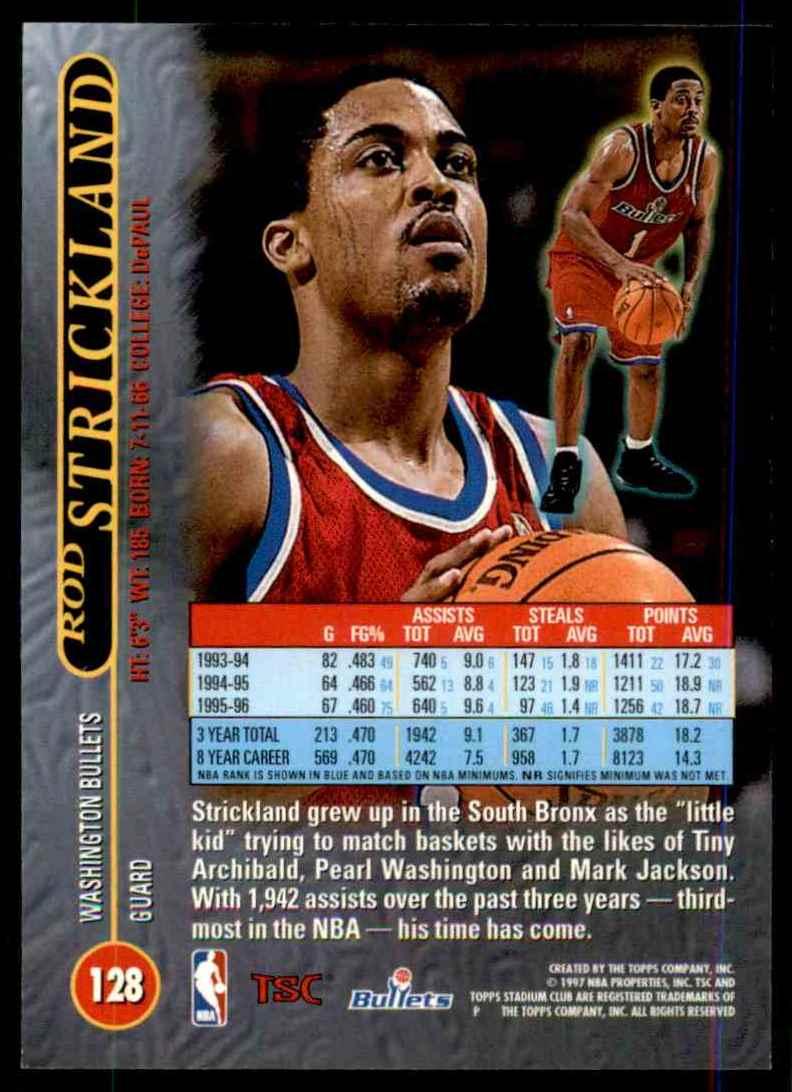1996-97 Stadium Club Rod Strickland #128 card back image