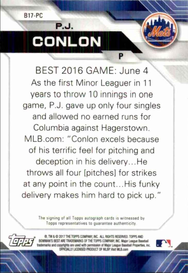 2017 Bowman's Best Pj Conlon #B17-PC card back image