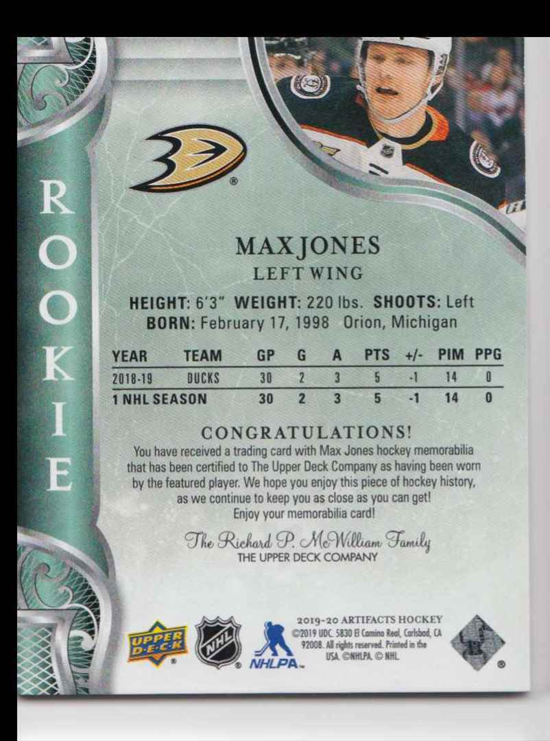 2019-20 Artifacts Materials Gold Max Jones #164 card back image
