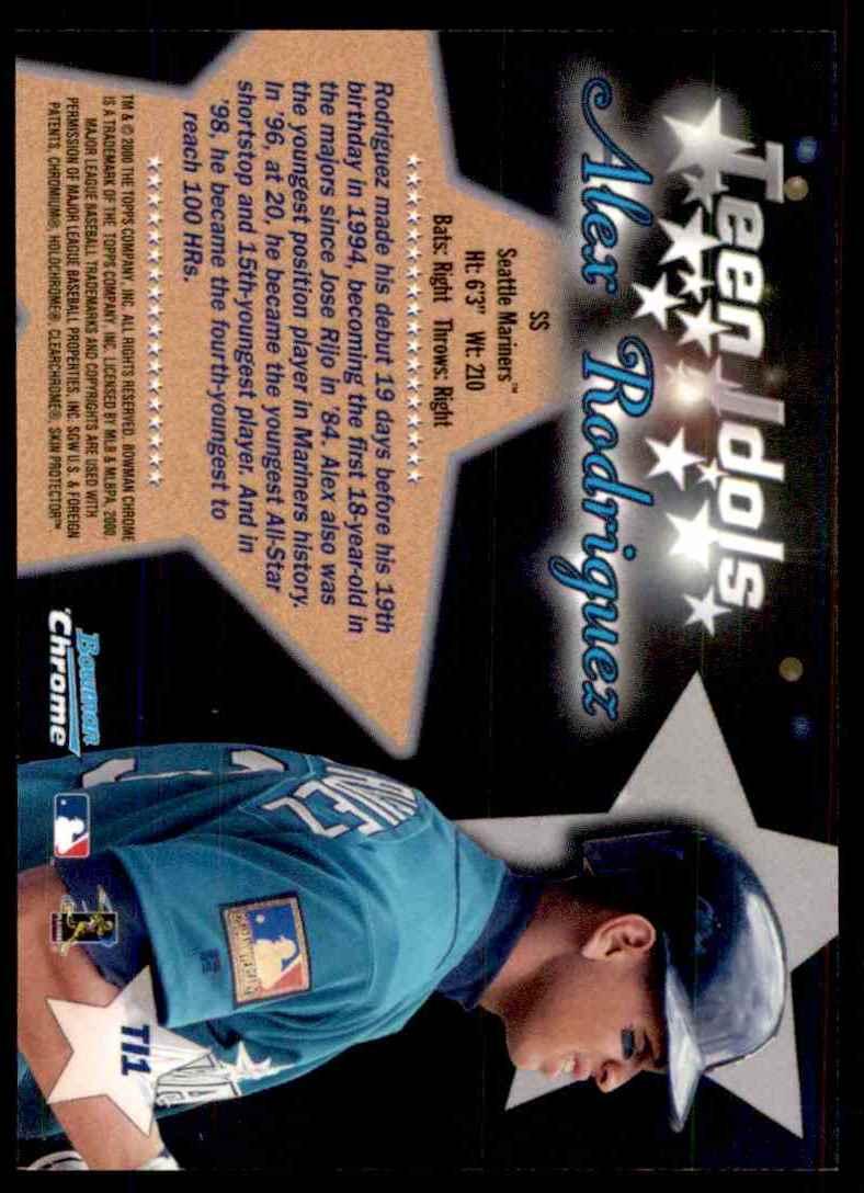 2000 Bowman Chrome Teen Idols Alex Rodriguez #TI1 card back image