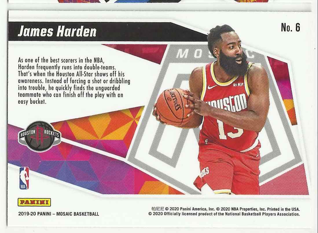 2019-20 Panini Mosaic Give And Go James Harden #6 card back image