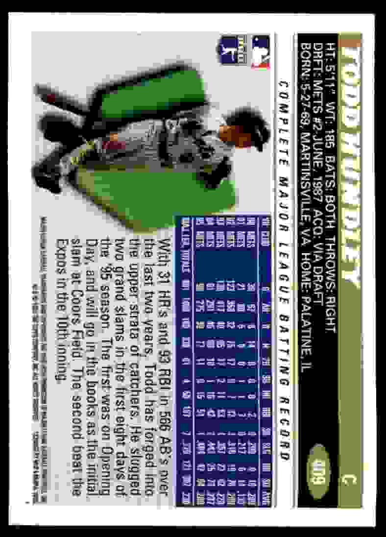 1996 Topps Todd Hundley #409 card back image
