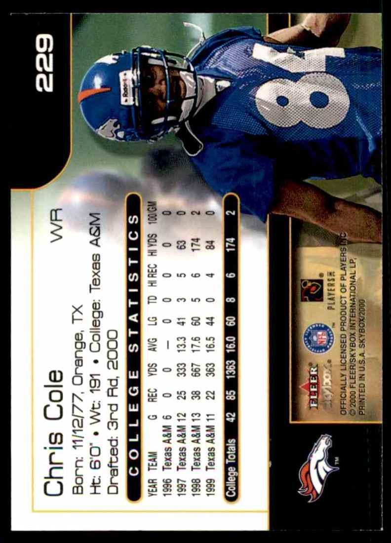 2000 Skybox Chris Cole #229 card back image