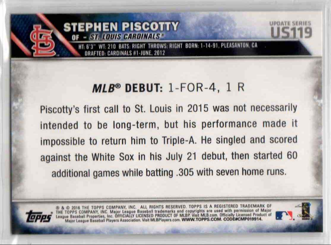2016 Topps Update Stephen Piscotty RD #US119 card back image