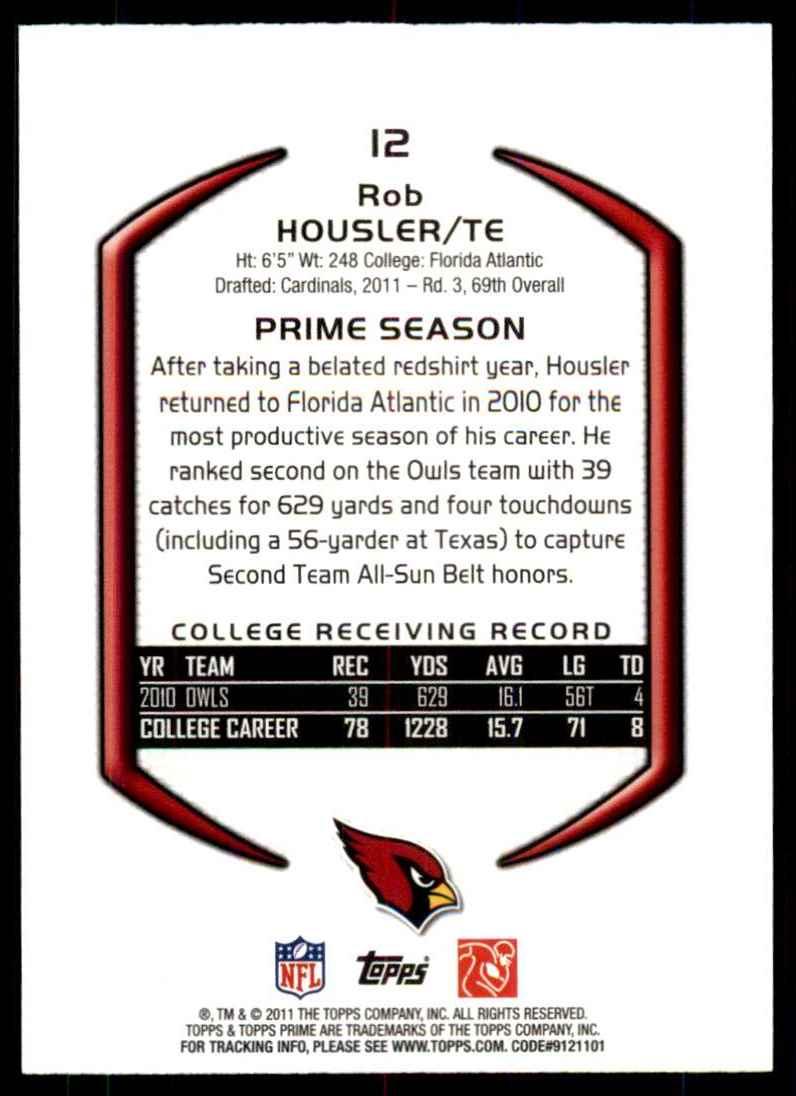 2011 Topps Prime Rob Housler RC #12 card back image
