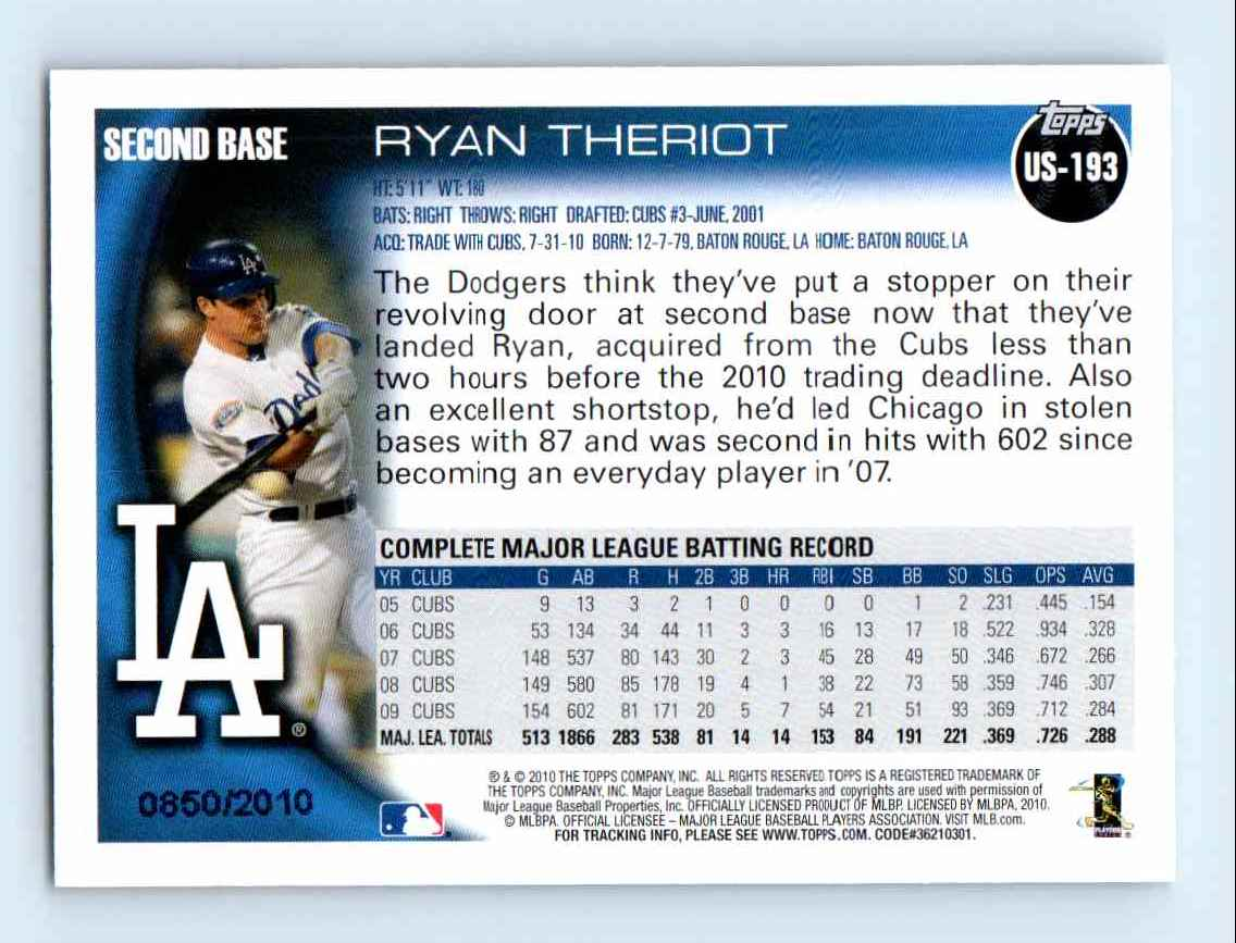 2010 Topps Update Gold Border Ryan Theriot #US-193 card back image