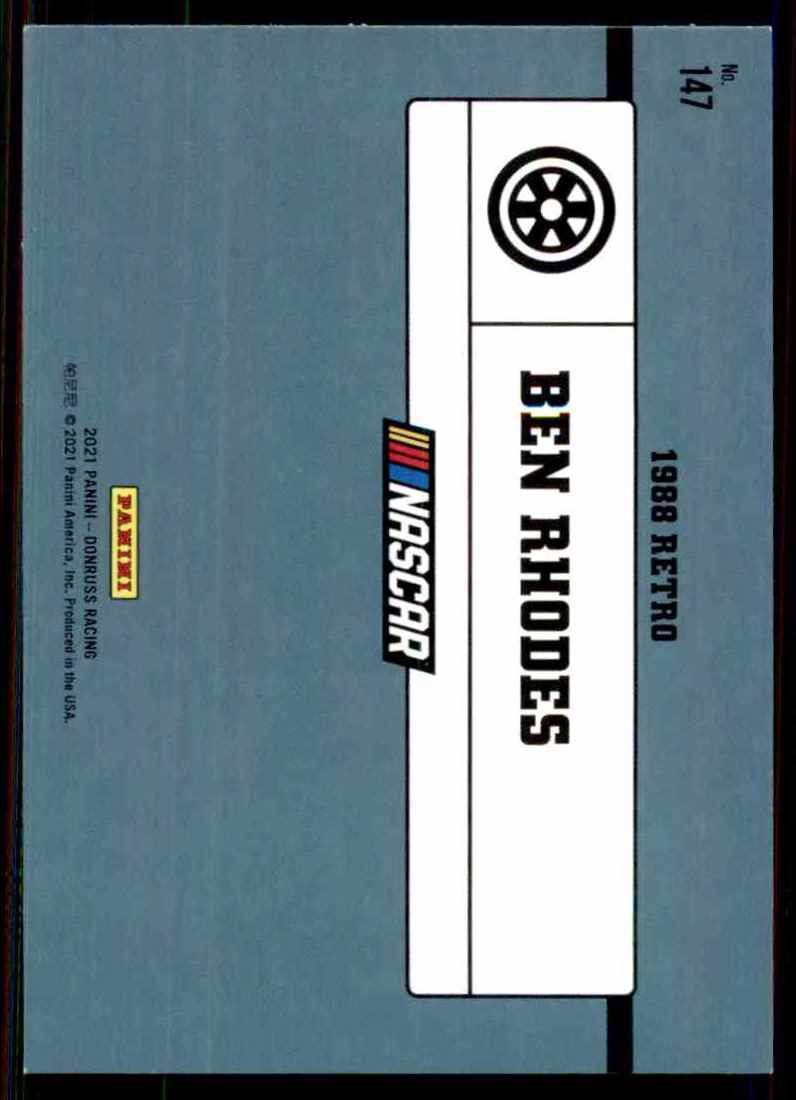 2021 Donruss Ben Rhodes Retro #147 card back image