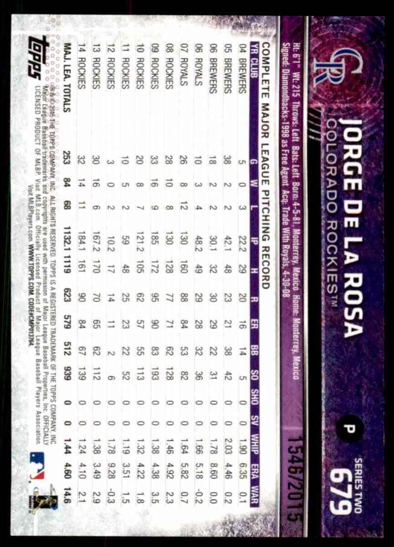 2015 Topps Gold Jorge De La Rosa #679 card back image
