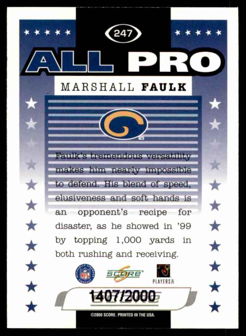 2000 Score Scorecard Marshall Faulk #247 card back image